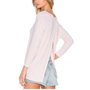 Michael Stars White Ribbed Crossover Back Top